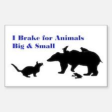 Brake For Animals Sticker (Rectangle)