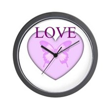 Love Butterfly Heart Wall Clock