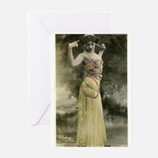 Vintage Bellydancer Yellow Greeting Cards (Pk of 2