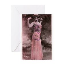 Vintage Bellydancer Pink Greeting Card