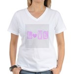Pink Heart Love Women's V-Neck T-Shirt