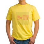Pink Heart Love Yellow T-Shirt