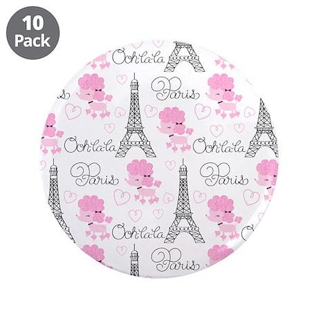 """Paris Poodles 3.5"""" Button (10 pack)"""