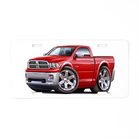 Ram Red Truck Aluminum License Plate