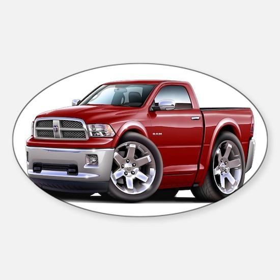 Ram Maroon Truck Sticker (Oval)