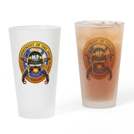US Army Military Police Skull Drinking Glass