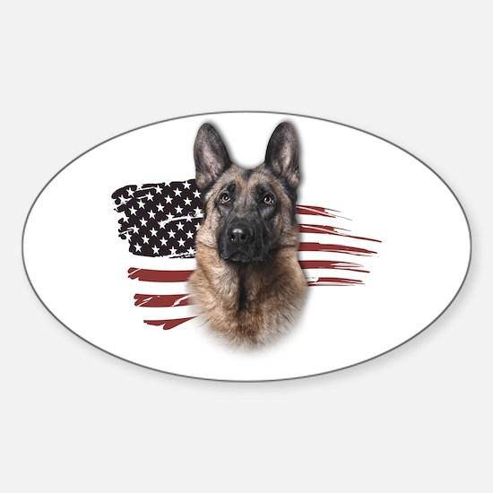 Patriotic German Shepherd Sticker (Oval)