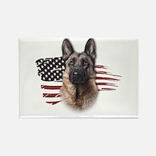 Patriotic German Shepherd Rectangle Magnet (10 pac