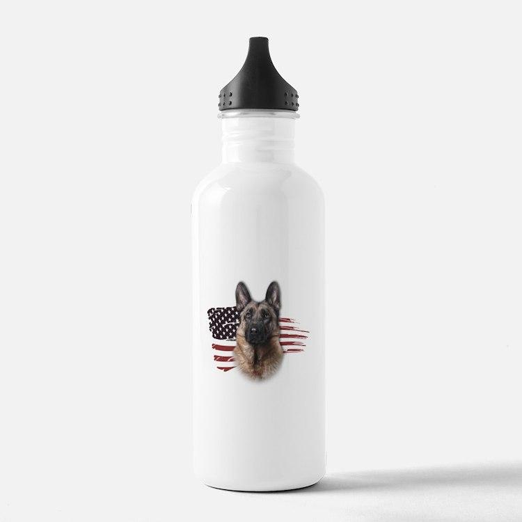 Patriotic German Shepherd Water Bottle