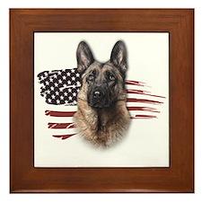 Patriotic German Shepherd Framed Tile