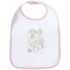 Alphabet in retro patterns Bib