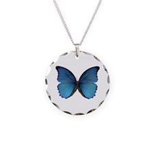 Blue Butterfly Necklace Circle Charm