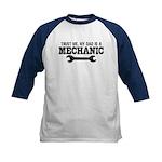 Trust Me My Dad Is A Mechanic Kids Baseball Jersey