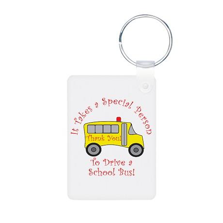 School Bus Driver Aluminum Photo Keychain