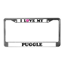 I Love My Puggle License Plate Frame