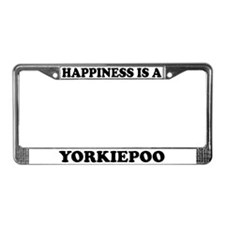 Happiness Is A Yorkiepoo License Plate Frame