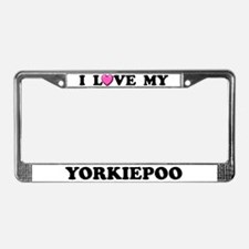 I Love My Yorkiepoo License Plate Frame