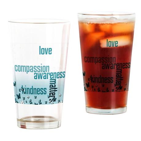 Kindness Matters Aqua Drinking Glass