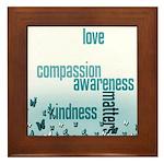 Kindness Matters Aqua Framed Tile
