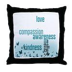 Kindness Matters Aqua Throw Pillow