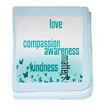 Kindness Matters Aqua baby blanket