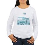 Kindness Matters Aqua Women's Long Sleeve T-Shirt