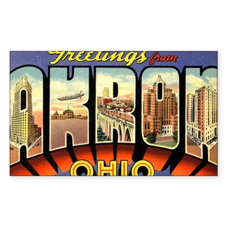 Greetings from Akron Sticker (Rectangle 10 pk)