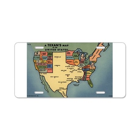 Texan's Map of the US Aluminum License Plate