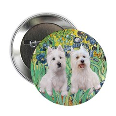 "CUSTOM-Irises - 2 Westies 2.25"" Button"