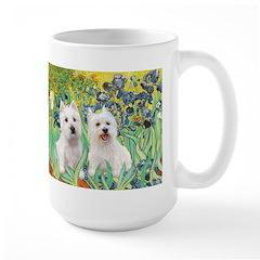 CUSTOM-Irises - 2 Westies Large Mug