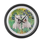 CUSTOM-Irises - 2 Westies Large Wall Clock