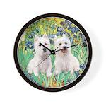 CUSTOM-Irises - 2 Westies Wall Clock
