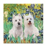CUSTOM-Irises - 2 Westies Tile Coaster
