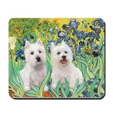 CUSTOM-Irises - 2 Westies Mousepad