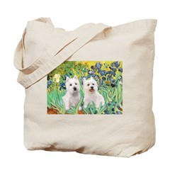 CUSTOM-Irises - 2 Westies Tote Bag
