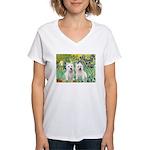 CUSTOM-Irises - 2 Westies Women's V-Neck T-Shirt
