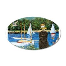Sailboats & Affenpinscher 22x14 Oval Wall Peel