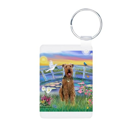 Lilies (JF) & Airedale Aluminum Photo Keychain