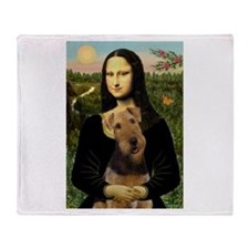 Mona Lisa & Airedale Throw Blanket