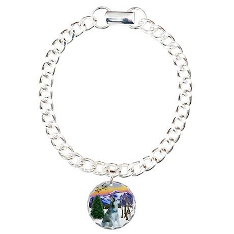 Winter Sunset & Alaskan Husky Charm Bracelet, One