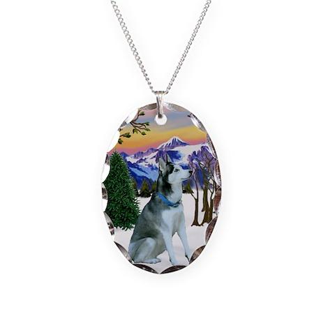 Winter Sunset & Alaskan Husky Necklace Oval Charm