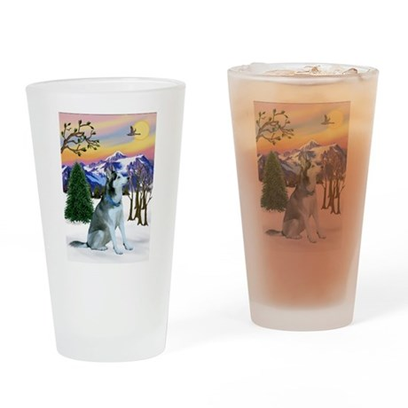 Winter Sunset & Alaskan Husky Drinking Glass