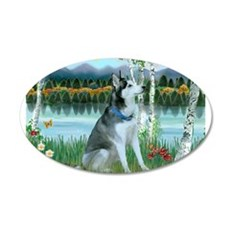 Alaskan Husky in the Birches Wall Decal