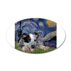 Starry Night Cattle Dog Pup 22x14 Oval Wall Peel