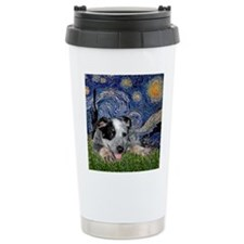 Starry Night Cattle Dog Pup Travel Mug