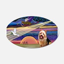 Xmas Star Aussie Terrier 22x14 Oval Wall Peel