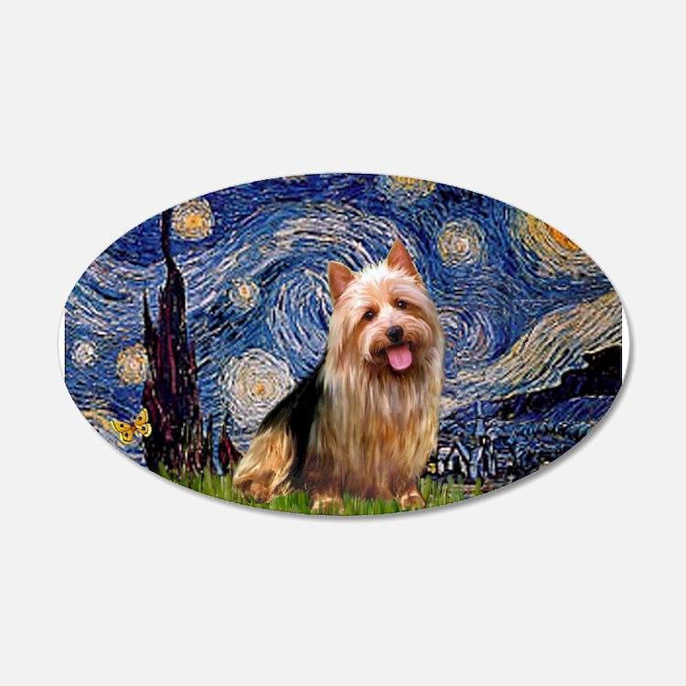 Starry Night Aussie Terrier 22x14 Oval Wall Peel