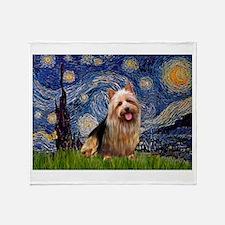 Starry Night Aussie Terrier Throw Blanket