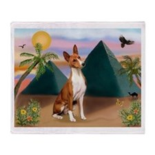 Basenji at the Pyramids Throw Blanket