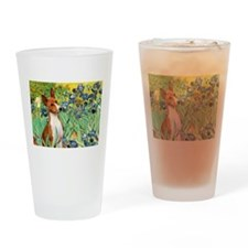 Basenji in Irises Drinking Glass